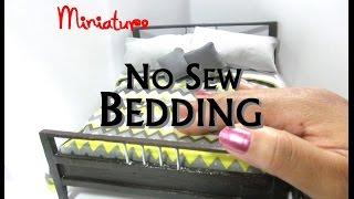 Diy No Sew Bedding Bedspread, Pillowcase, Throw Pillows Dollhouse Miniature Fabric Tutorial