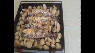 Запечённая скумбрия с сыром // Baked mackerel with cheese