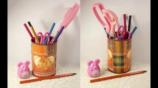 Декупаж для начинающих мастер класс #36 Как сделать подставку для карандашей с имитацией пєчворка