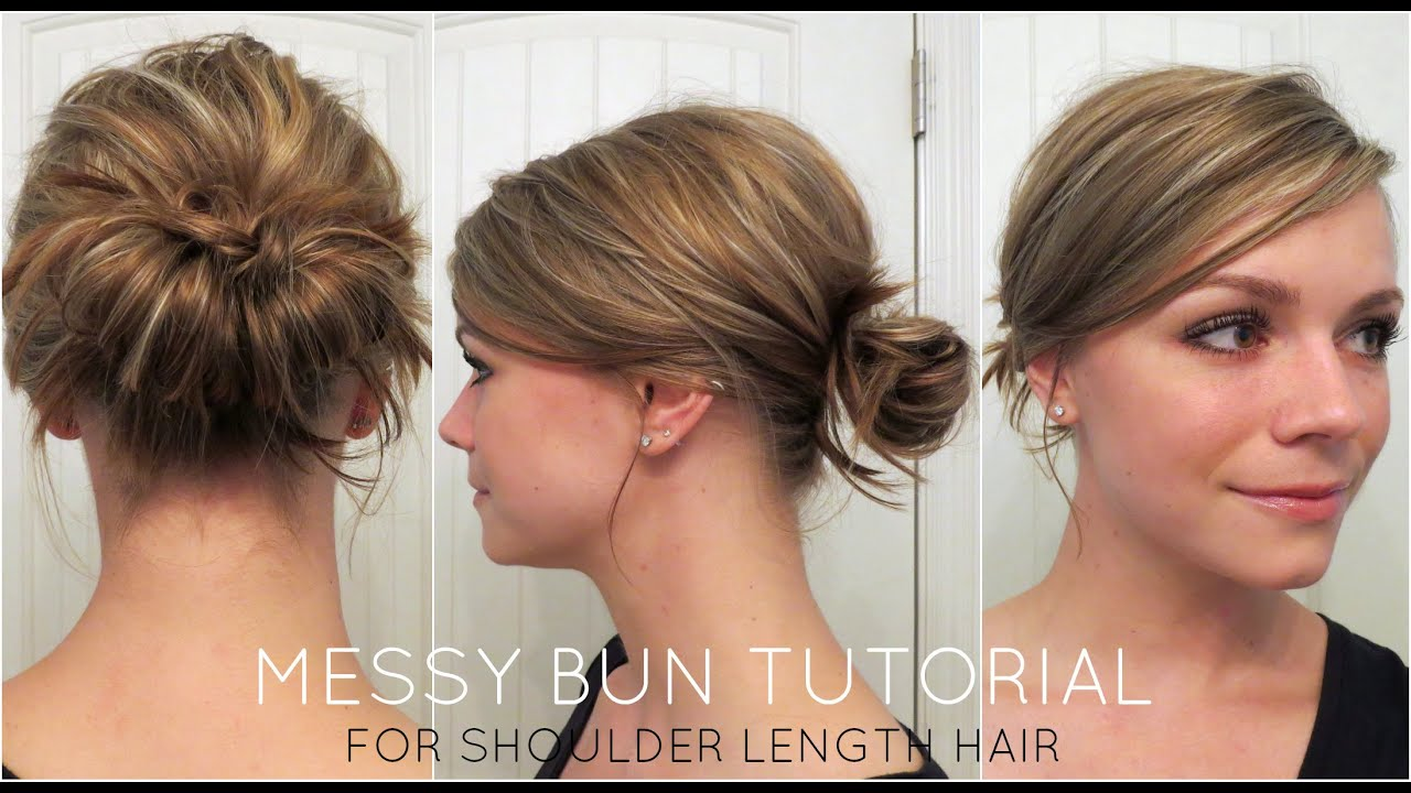 Messy Bun Hairstyle Simple Updo For Medium Hair Tutorial Makeup Videos