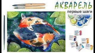 Как нарисовать КАРПЫ КОИ! Акварель для начинающих! Урок рисования! Как научиться рисовать акварелью