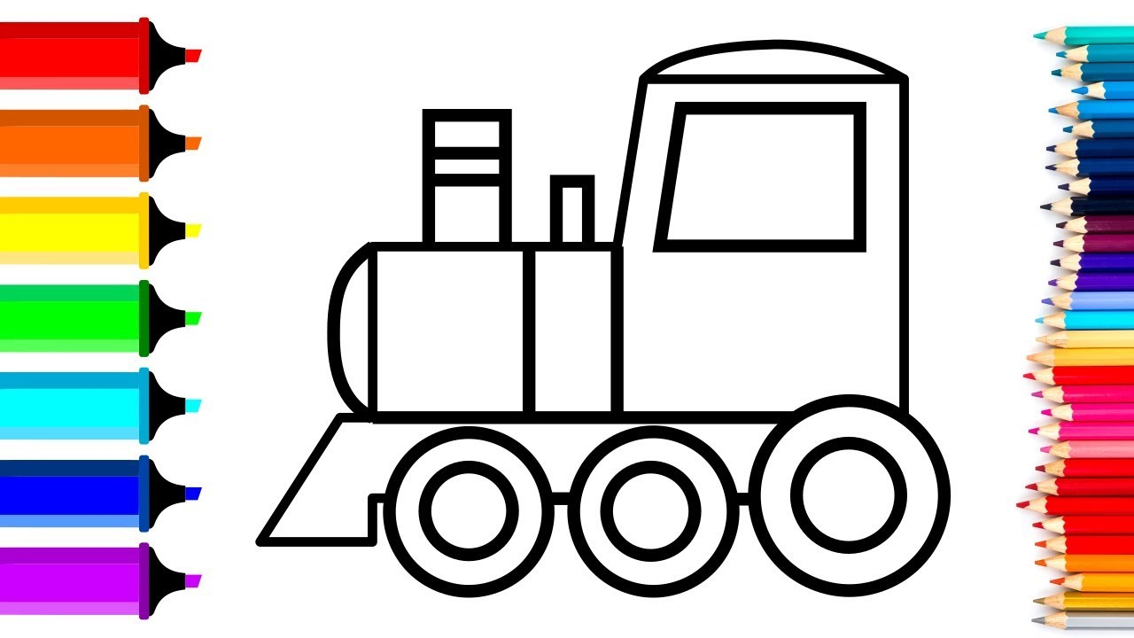 Train Engine Drawing Coloring For Kids Crystal Diamond For Children Youtube