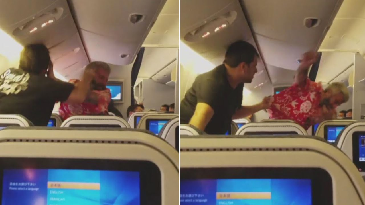 Video shows two men fighting on flight from Japan to Los Angeles