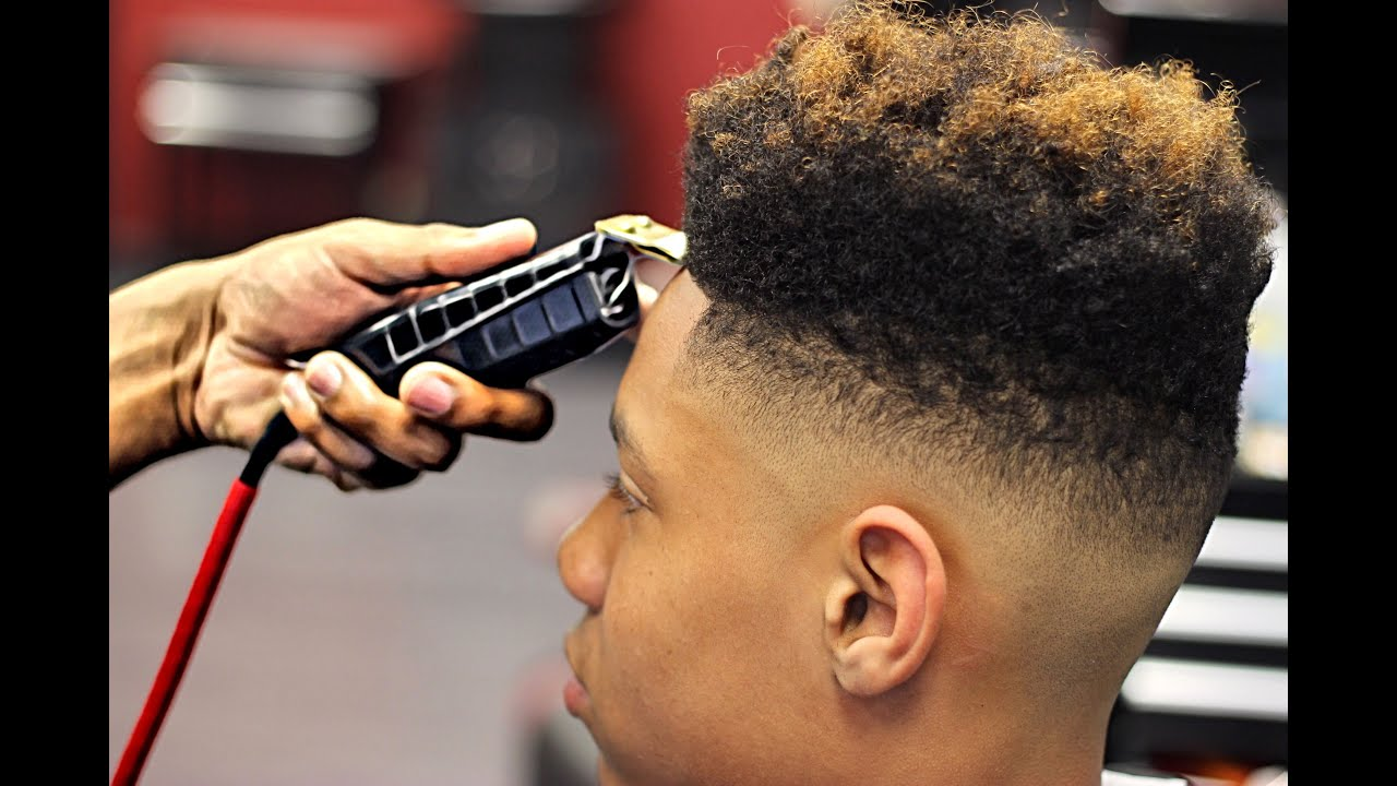High top fade with color