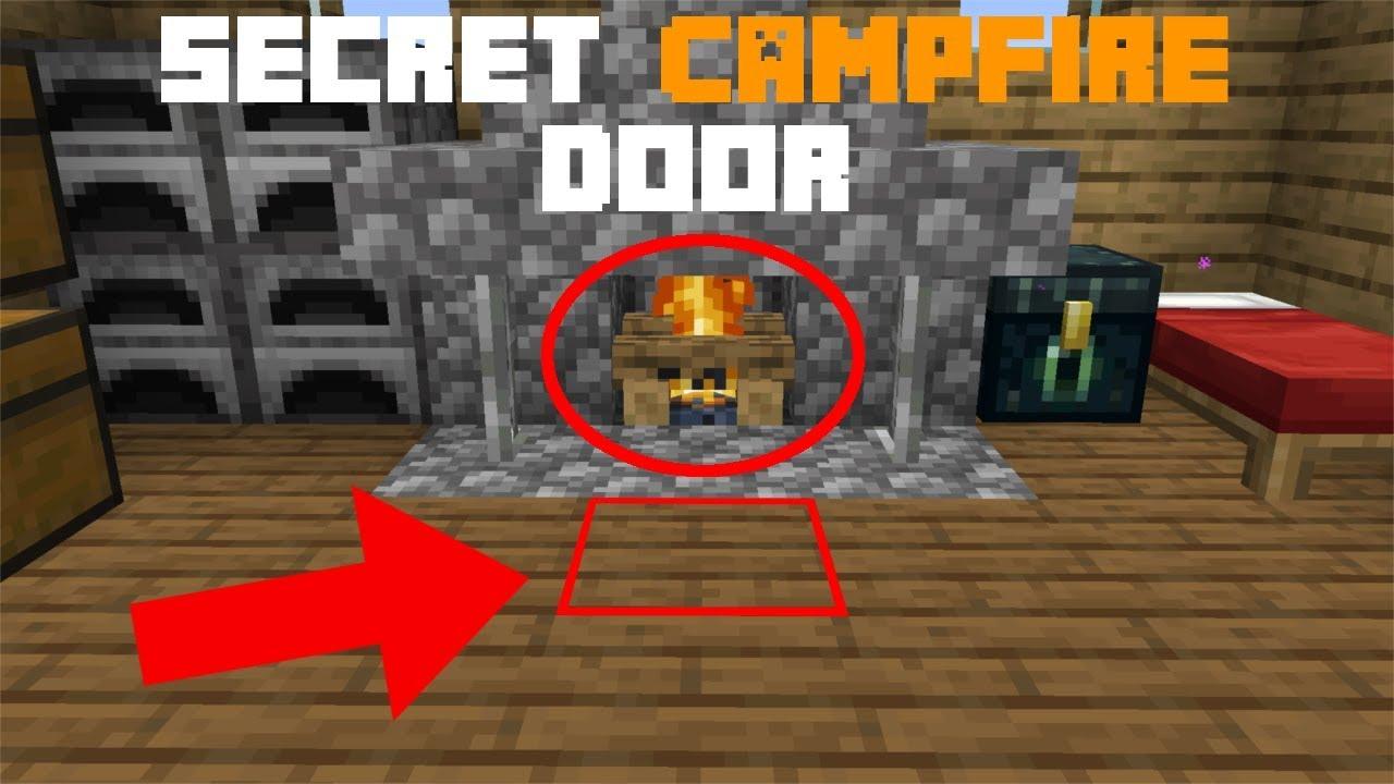 Minecraft 1 14 Secret Campfire Trap Door Redstone Tutorial Youtube