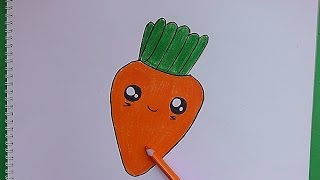 Como dibujar y pintar a Zanahoria Divertida - How to draw and paint Carrot Fun