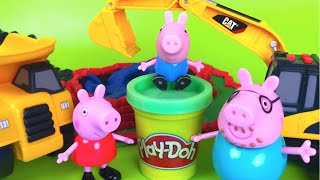PlayDoh Stop Motion Peppa Pig Family Mighty Machines Excavator Dump Truck toddler best videos
