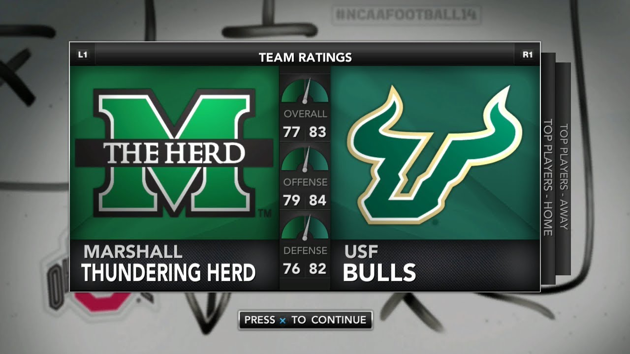 Ncaa Football 14 Rosters Updated For 2018 2019 Gasparilla Bowl Game Marshall Vs Usf