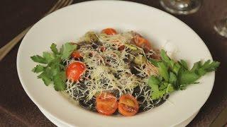 Фреш-паста со спагетти из чернил каракатицы с цукини