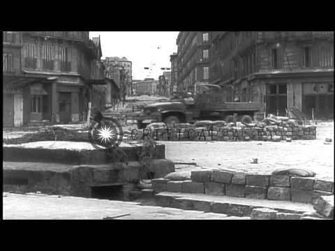 Docks, warehouses and port facilities damaged during the Liberation of Marseilles...HD Stock Footage
