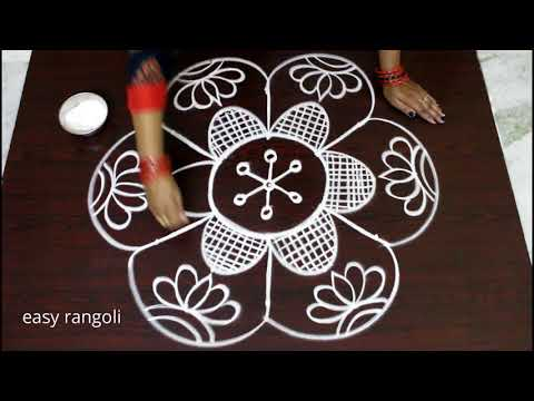 Very Beautiful Friday Kolam designs with 5-3 middle dots    easy rangoli with dots    Simple muggulu