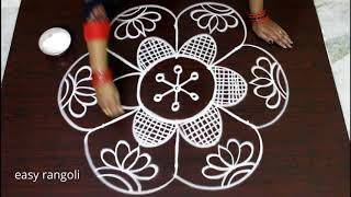 Very Beautiful Friday Kolam designs with 5-3 middle dots || easy rangoli with dots || Simple muggulu