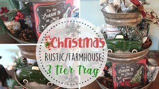 Farmhouse Christmas 3 Tier Tray | Rustic Farmhouse Christmas Decor | Dollar Tree Decor