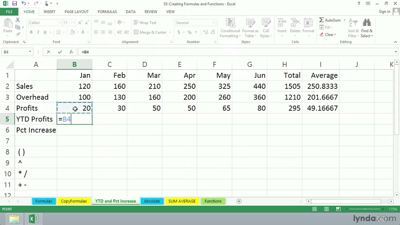 Excel 2013 tutorial: Calculating the year-to-date profits | lynda ...