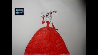 Рисую ДЕВУШКУ В КРАСИВОМ КРАСНОМ ПЛАТЬЕ/248/Draw a GIRL IN a RED DRESS