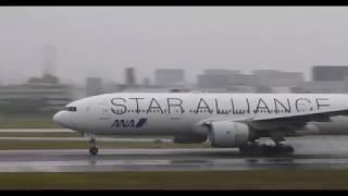 【4K60P】伊丹空港2018年05月 雨の離陸シーン