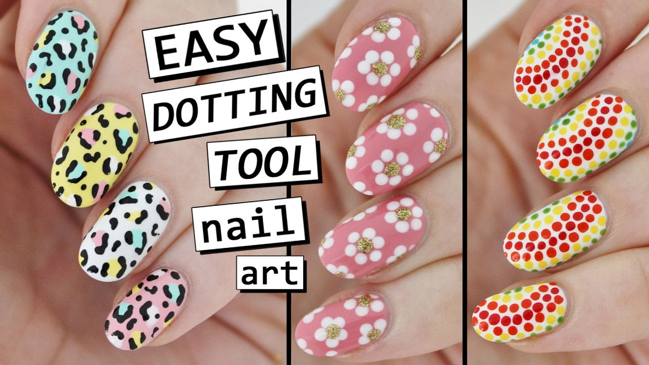 Dotting tool nail art 3 easy designs youtube dotting tool nail art 3 easy designs prinsesfo Gallery