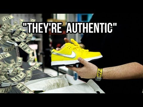 TRYING TO SELL MY CUSTOM NIKE SB CANARY'S TO A SNEAKER SHOP!!