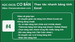 Học Excel cơ bản | #4 Tips - Thao tác nhanh bảng tính Excel