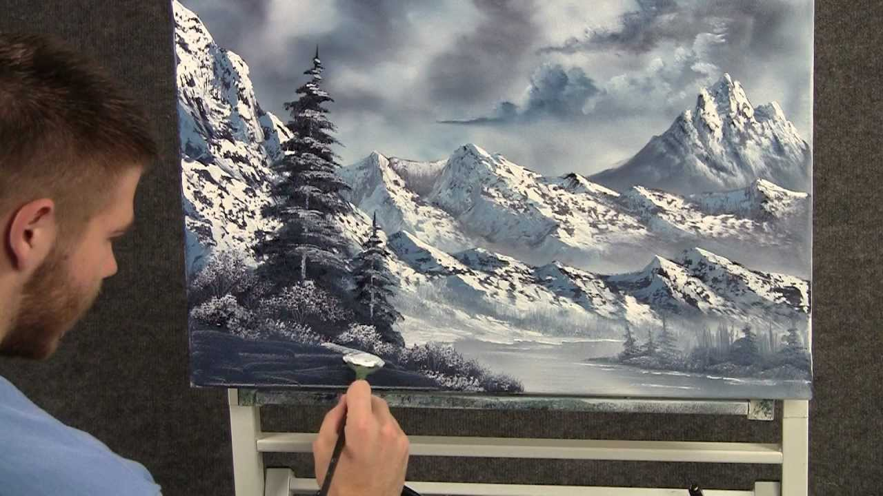 Paint with kevin hill large snowy mountains wet on we for Oil painting lessons near me