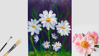 Simple And Easy Daisy Flower Painting With Acrylic