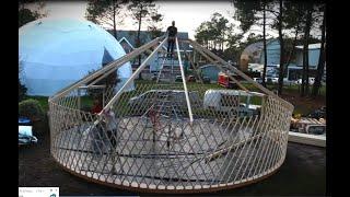 Time lapse : Yourte 100m² ERP , salle de spectacles et de répétitions des arts du cirque.