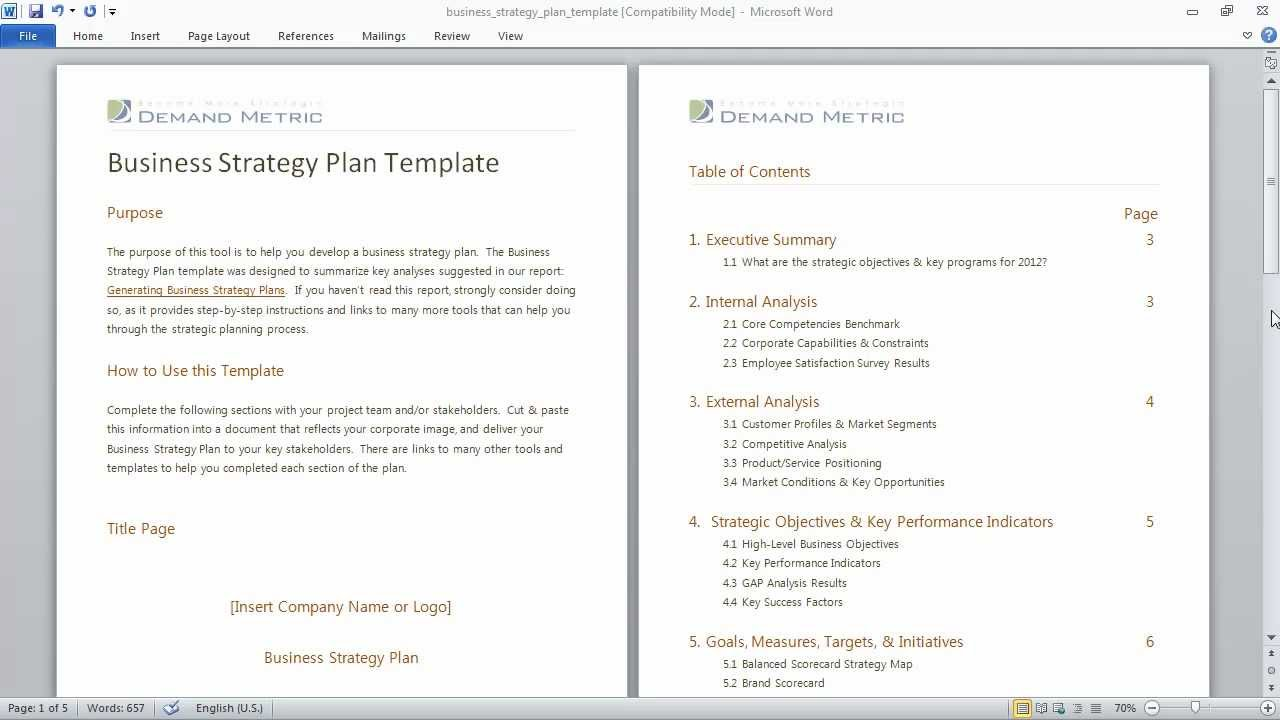 Business Strategy Plan Template YouTube - Business strategy plan template