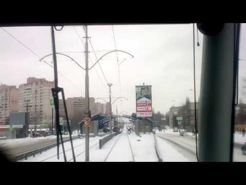 Kiev.High-speed tram 3./Киев.Скоростной трамвай 3.Весь маршрут.Вид спереди