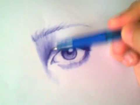 how to draw an eye in pen