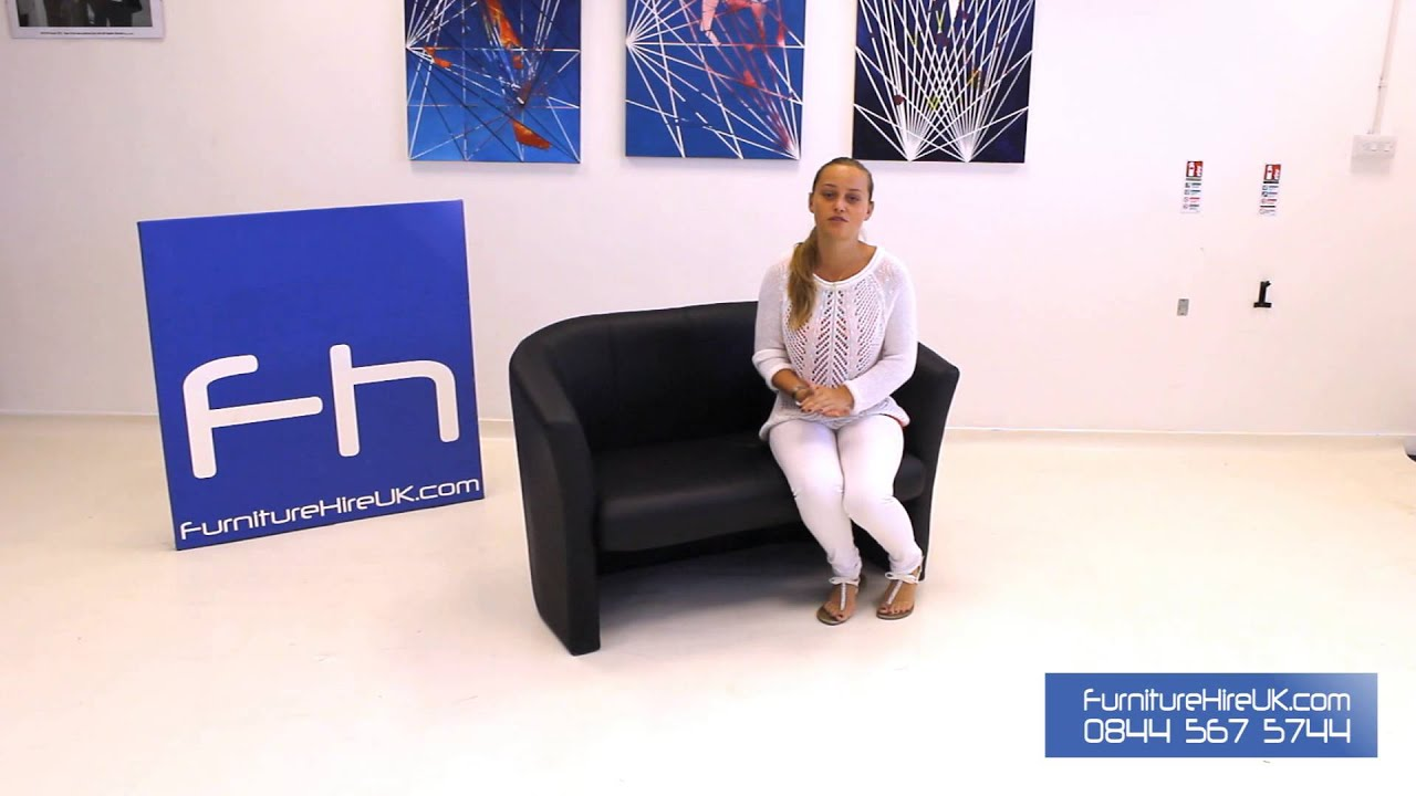 2 Seater Leather Tub Chair Demo - Furniture Hire UK