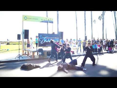 Macomber Karate demonstration team downtown 2014