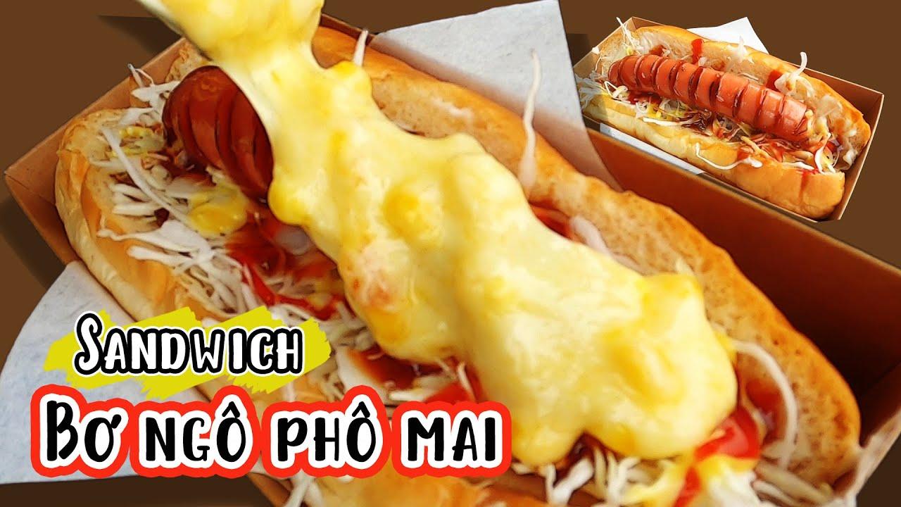 Bánh mì ngô phô mai xúc xích Cách làm Sandwich Hàn Quốc cho bữa sáng Corn Cheese Bread