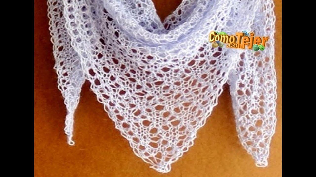 Cómo Tejer Chal de Encaje. How to Knit Lace Shawl, 2 agujas (309 ...