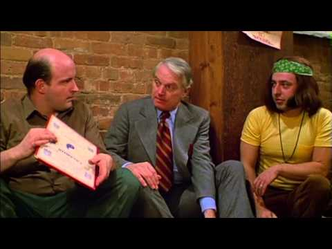 Peter Boyle and Dennis Patrick at a hippy café trying to order a beer