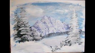 Рисуем зимний пейзаж гуашью. Draw a winter landscape gouache