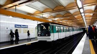 Metro Paris: Ein- und Ausfahrt eines MF 67 im Bhf. Havre Caumartin