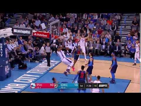 Joel Embiid Dunk on Russell Westbrook - Oklahoma City Thunder vs. Philadelphia 76ers - 28/01/2018