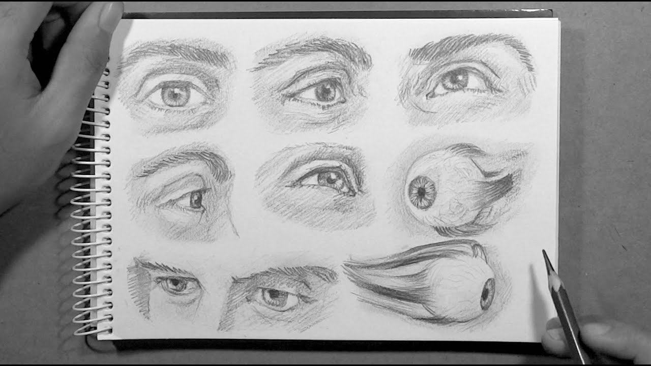 Ep02 drawing eyes from different angles time lapse