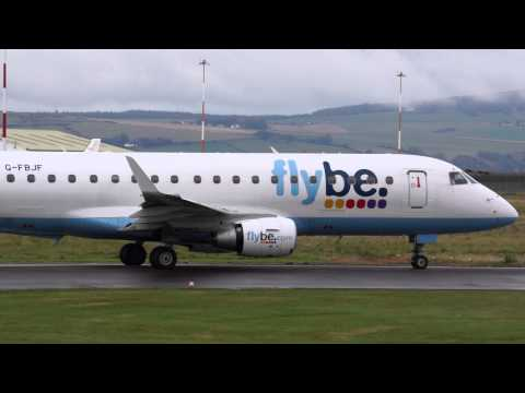 Flybe Embraer ERJ-175STD taking off from Inverness Airport, Scotland