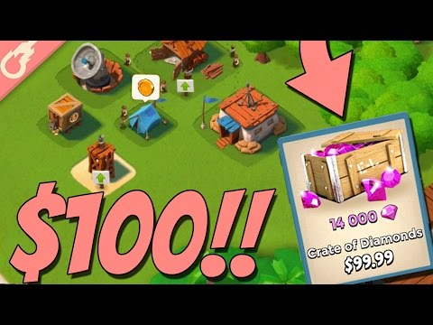 DROPPING 14,000 Diamonds On A NEW Boom Beach Account!! Boom Beach Diamond Account