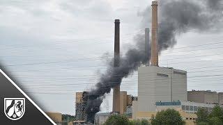 Feuer in ehemaligem Steinkohle-Kraftwerk in Porta Westfalica