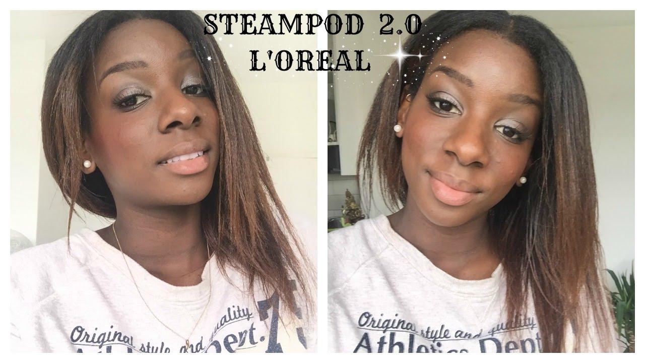 l 39 oreal steampod 2 0 sur cheveux afro cheveux en transition 8 mois post defrisage youtube. Black Bedroom Furniture Sets. Home Design Ideas