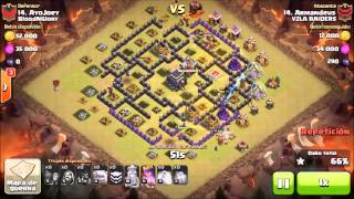 ATAQUE CLASH OF CLANS/ GOHOG/TH9 VS TH9 /100%/ 3 ESTRELLAS /Raiders CoC/