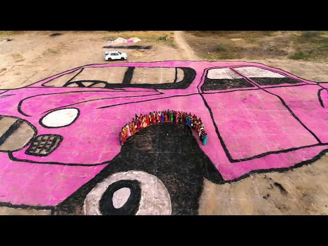 Car Symbol Rangoli at Siricilla in over 2 Acres by TRS Women Activists | Telangana | TRS Party