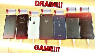 Razer Phone vs iPhone X vs Note 8 vs OnePlus 5T vs Pixel 2 XL vs V30 vs S8+ - Battery Drain Test!