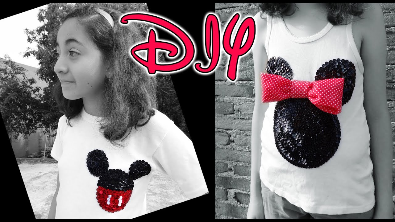 DIY DECORA PLAYERAS CON MICKEY Y MINNIE MOUSE ¡FÁCIL Y ...