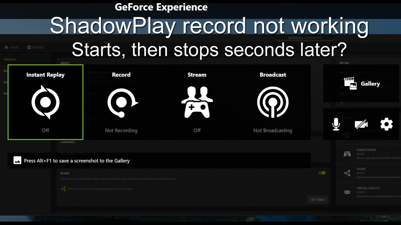 Nvidia Geoforce Experience, ShadowPlay, screen recorder stopping/disabling  after starting - 1 FIX