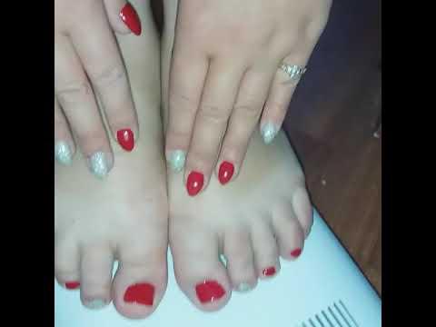 Красный и серебро маникюр