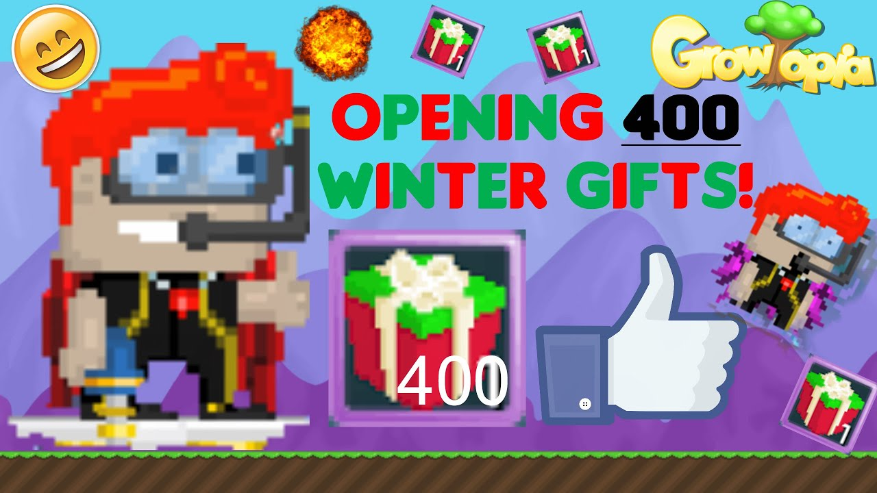 growtopia opening 400 winter gifts youtube. Black Bedroom Furniture Sets. Home Design Ideas