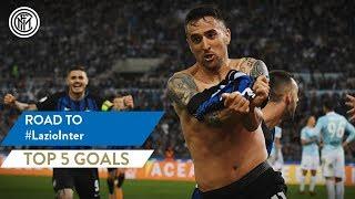 "Lazio vs inter | top 5 goals the scored by nerazzurri in rome against lazio, as presented tv's ""road to"" – starring vecino, emre, re..."